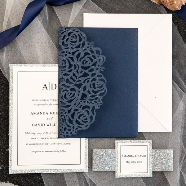 Compre Comercio Al Por Mayor 2018 Venta Caliente Azul Marino Laser Cut Luxury Tri Plegadas Invitaciones De Boda Tarjetas Personalizar Wedding Party