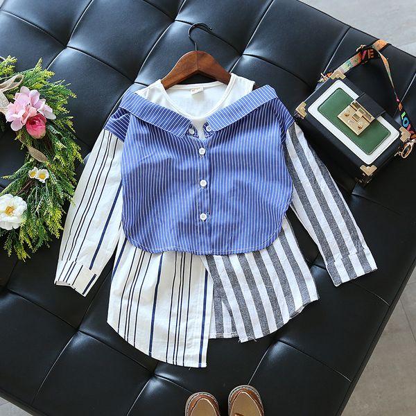 Kids Shirt Fashion Girl Shoulder off Stripe Shirt False 2 Pieces Shirt Girl Clothing 5 p/l