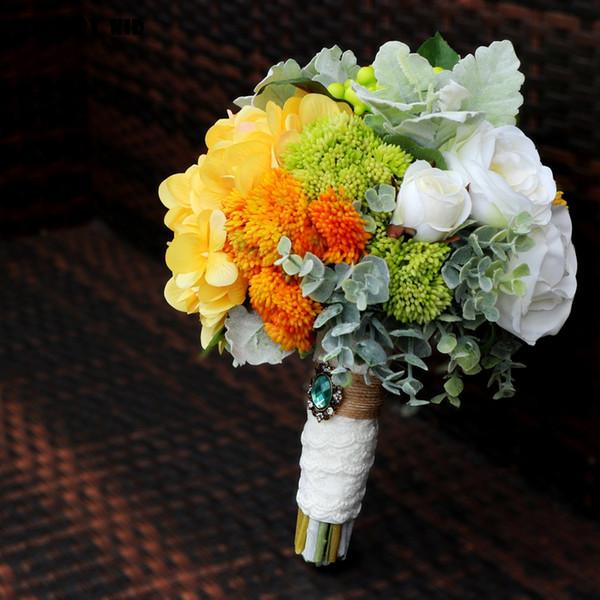 Bouquet Sposa Giallo.Acquista 100 Hi Q Fiore Artificiale Bouquet Da Sposa Alta