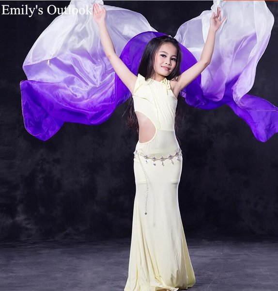 Girl's Belly Dance Pure Silk Veil for Belly Dancers Rainbow Gradient Solid White Pink Customized Color & Size Free Shipping