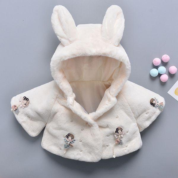 Bebê recém-nascido menina casacos de inverno casaco infantil menina bonito coelho orelha branco casaco de pele rosa #