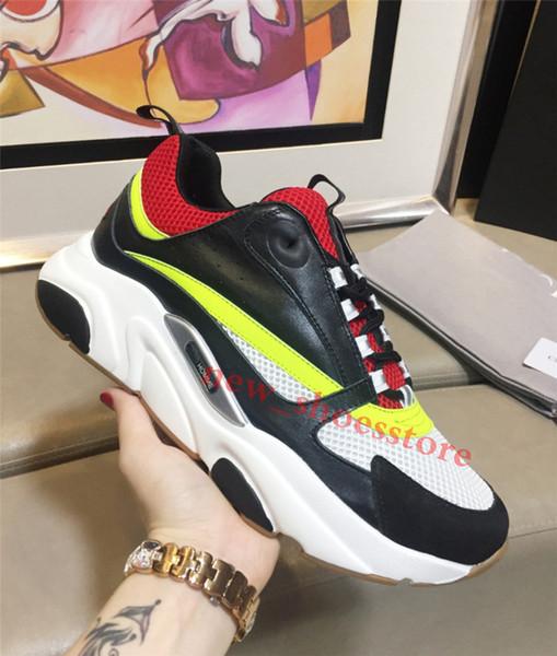 Lona dos homens e Formadores de Bezerro Moda Europa Moda Sneaker Novas Sapatilhas B22 Trainer Técnica Malha Sapatos