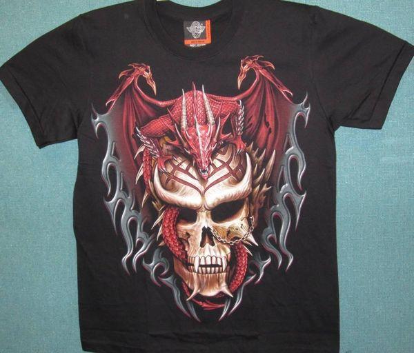 Kafatası Dövme S / S Siyah T-Shirt M / L / XL üzerinde Ejderha - YENİ