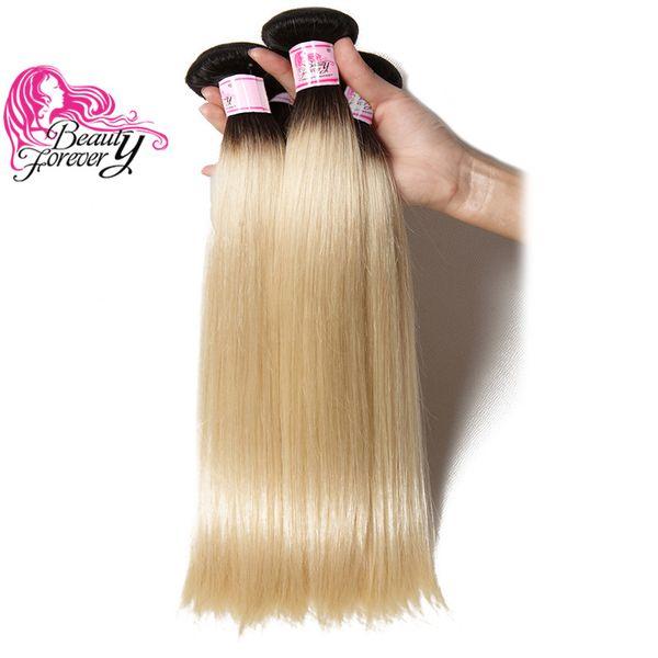 Красота навсегда бразильские девственные волосы шелк прямые T1b 613 Ombre волос 3 пучки 100% человеческих волос два тона ткать оптовые пучки свободный корабль