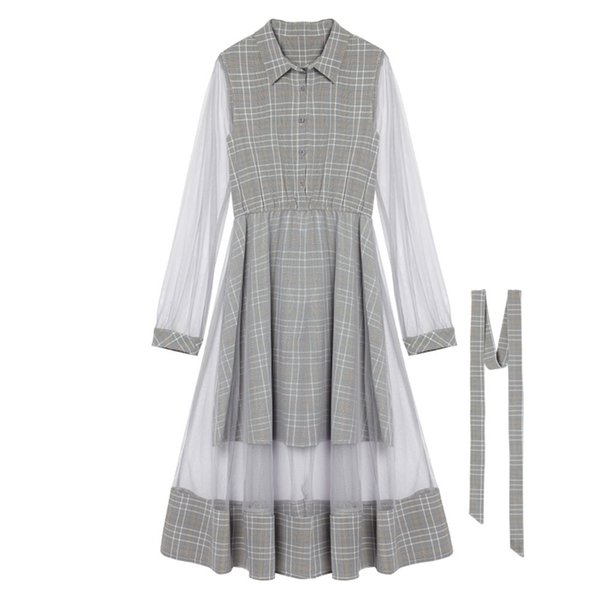 Plaid Mesh Swing Vintage Shirt Dress Women Autumn High Street Fashion Elastic Waist Preppy Style Fresh Sweet Girl Midi Dresses