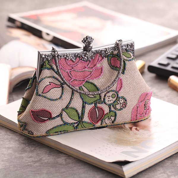 New Retro National Style Nostalgic Republic Of China Classical Portable Printing Beaded Craft Bag Casual Linen Banquet Bag