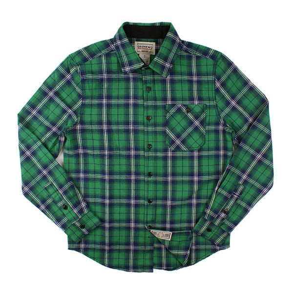 Cotton Plaid Shirt Men Long Sleeve Check Chemise Homme Red Green Mens Shirts Casual Slim Fit Roupas Masculina Autumn Winter 2018 C18111601