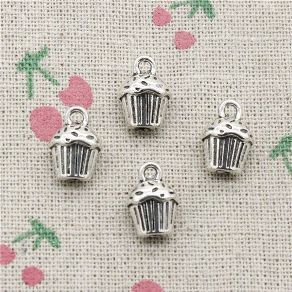 54pcs Charms 3D cupcake cake 13*10*8mm Antique Silver Pendant Zinc Alloy Jewelry DIY Hand Made Bracelet Necklace Fitting