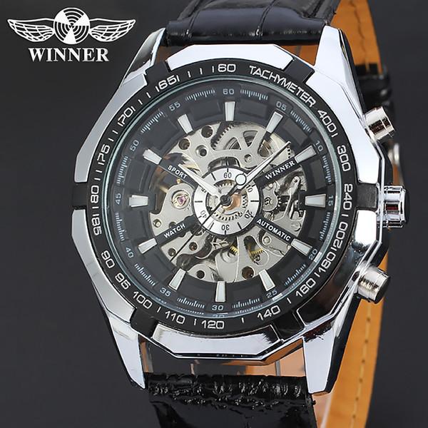 T-WINNER Schwarz Männlich Uhr Männer Relogios Skeleton Mens Top-marke Luxus Montre Leder Automatische Armbanduhr Männer Mechanische Uhr