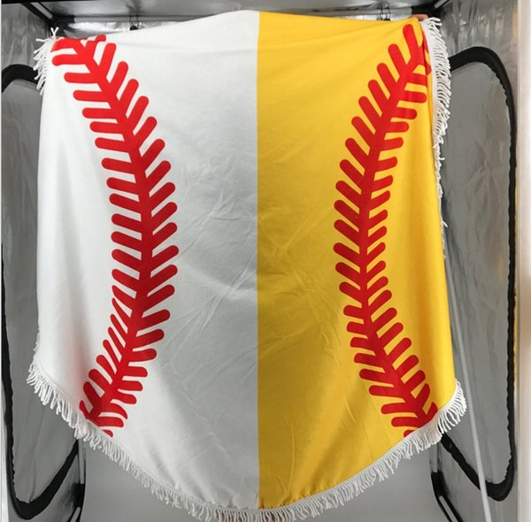 150cm Baseball Softball Tapestry Beach Towel Round blanket with Tassel Fringing Beach Throw round Outdoor Sports Yoga Mat Table Cloth 10pcs
