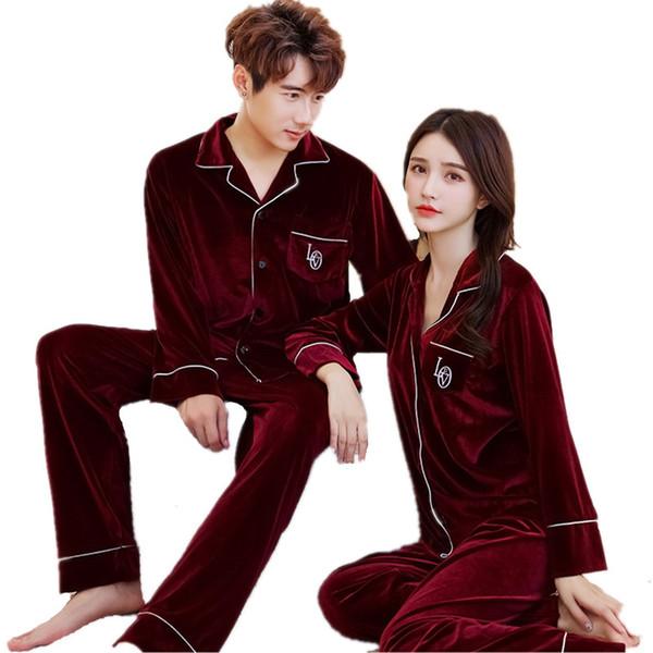 Gold Velvet Soft Pajamas Set Women Pajamas Set Winter Couple Men Velour Sleepwear Pyjamas Leisure Two Piece pijamas mujer