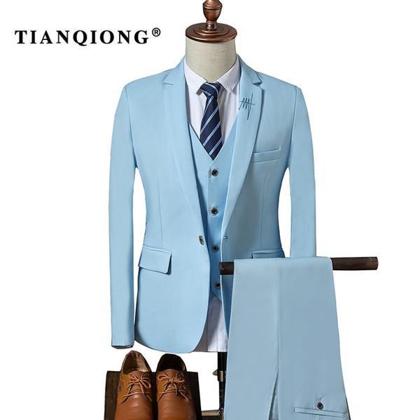 TIAN QIONG Suit Men 2017 Autumn Slim Fit Wedding Suits for Men 3 Piece Jacket Pants Vest Suit Black Sky Blue Mens Formal Wear