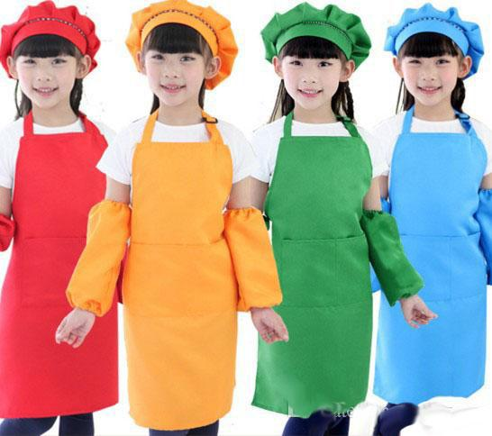 top popular 10 Colors Kids Aprons Pocket Craft Cooking Baking Art Painting Kids Kitchen Dining Bib Kitchen Supplies 2020