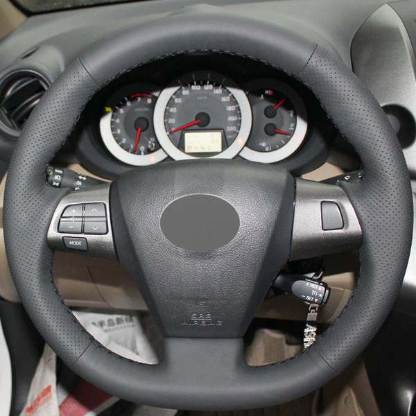 Cubierta del volante del coche cosido a mano de cuero genuino gris oscuro para Toyota Corolla 2011 2012 2013 RAV4 2011 2012