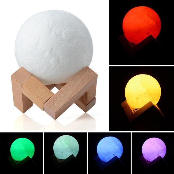Luce 3D Full Moon Light Stampa Simple Personality Lampada lunare Creative Desk Lamp Night Lights Per decorazione Dia 8/10 / 15cm P20