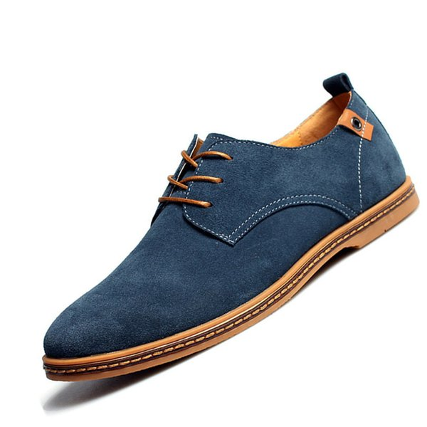 Fashion Men Casual Shoes Spring Flats Lace Up Male Suede Oxfords Men Leather Shoes Size 38-48