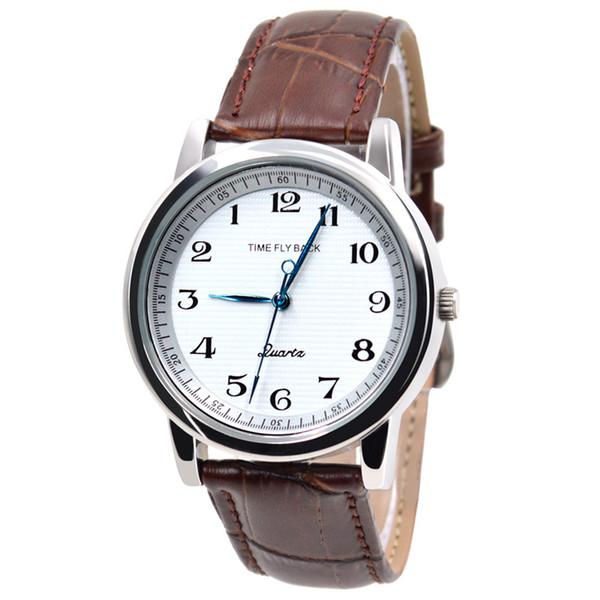 Zaman Hikayesi Saat Yönünün Tersine Klasik Moda Erkekler İş Kuvars Saatler Hakiki Deri Kayış Kol Saati Erkek Su Geçirmez adam
