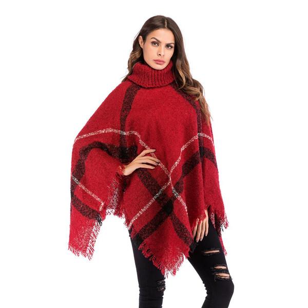 women sweaters fashion american style turtleneck 2018 winter office lady cloak tassel plaid female knit sweater womens