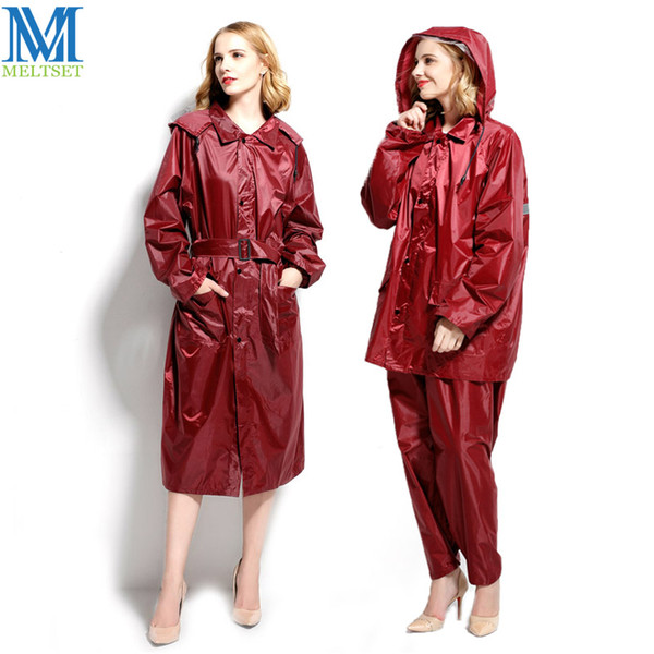 1pc Long Woman's Raincoat Waterproof Motorcycle Rainsuit For Ladies Hooded Trench Raincoat With Reflective Strip