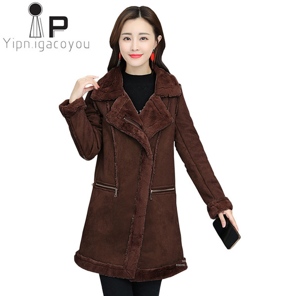 Frauen Koreanische Damen Winter Plusgröße Faux Wildleder Pelz Lambswool Langer Großhandel Mode Warme Jacken Verdicken Mantel F1cKJl