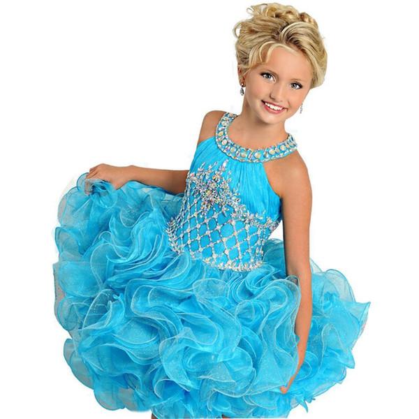 Kleinkind-blaue Organza-Blumen-Mädchen-Kuchen-Festzug-Kleider Glitz-Abschlussball-Kind-Ballkleid-Partei-Kleider geben Verschiffen frei