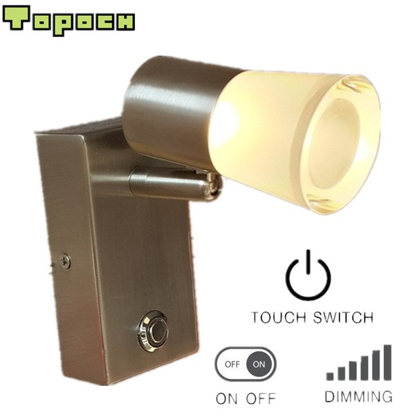 Topoch Wall Lights Interior Nickel Plated Touch on/off/Dim Switch Rotatable Tiltable Spotlight Aluminum+Acrylic Housing 120 Degree Beam