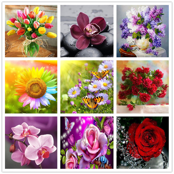 Satın Al Dpf Yuvarlak 5d Bölüm Renk çiçek Elmas Boyama çapraz Dikiş