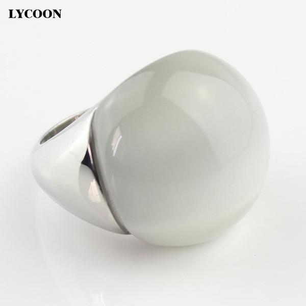 LYCOON Moda mulher de alta qualidade opalas jóias anel de aço inoxidável 316L com olhos de gato branco pedra em forma de bola grandes anéis Y1891205