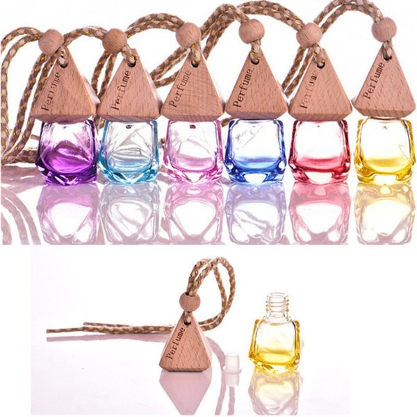 6 ml Mixed color Car hang decoration glass essence oil Perfume bottle Hang rope empty bottle free shipping