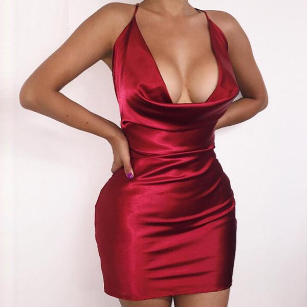 Summer Womens Sexy Satin Night Club Wear Dresses Ladies Red Spaghetti Strap V Neck Backless Mini Bodycon Dress Vestidos Y1891301