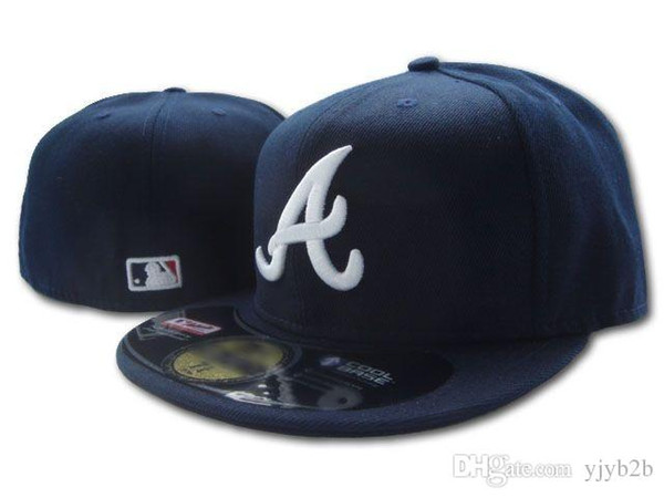One Piece New Arrival Braves Fitted Hats Letter A Embriodery Team Logo Brands braves on field Navy Blue color Sports Baseball Caps