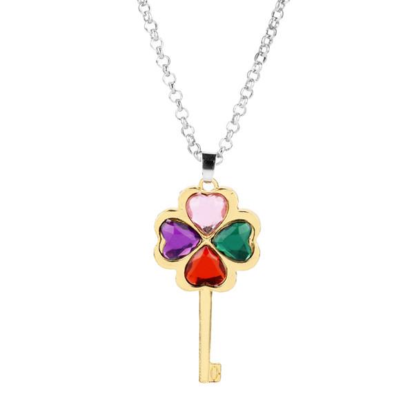 MQCHUN Fashion Austrian Crystal four Leaf Leaves Clover Key shape rhinestones necklace pendant jewelry -30