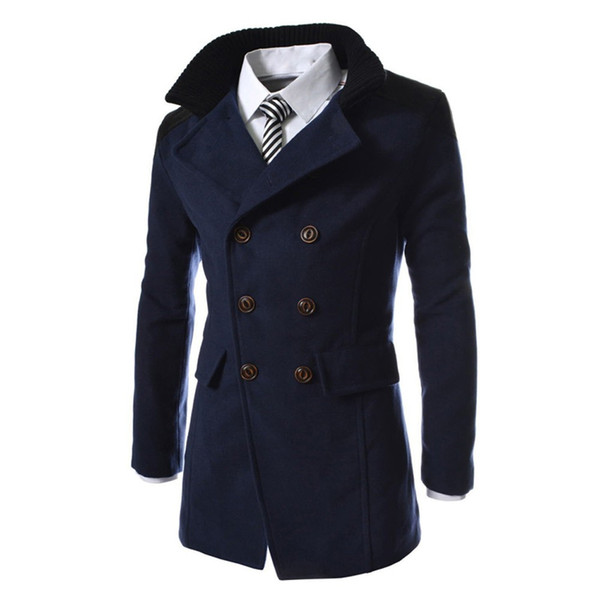 top popular 2018 Men Winter Long Jacket Warm Wool Trench Outwear Patchwork Button Male Casual Coats Men Clothing 2021