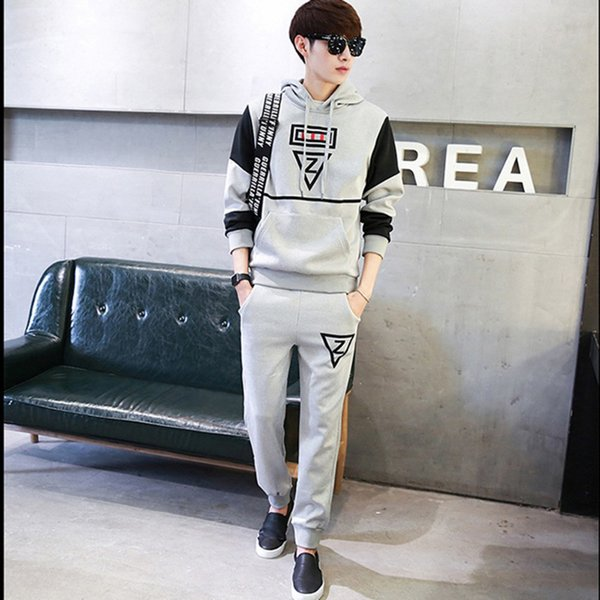 Casual Brand Men Set Autumn Spring Sporting Suit Hoodies Sweatshirt +pants 2 Pieces Mens Clothing Sportswear Male Fashion Tracks