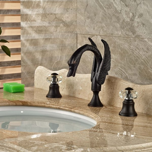 """Wholesale And Retail Luxury Oil Rubbed Bronze Crystal Handles Swan Bathroom Faucet 8"""" Sink Tub Mixer Tap NEW"""