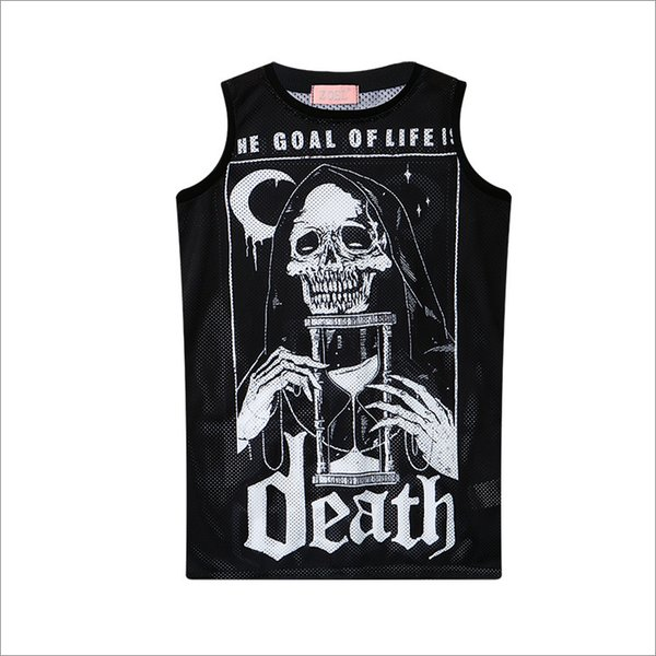 Dark Metal Black Gothic Shirt Sleeveless Tank Top Graphic China Funny Fonts Letter Printing Tops Boys Girls Skull Dark Tees