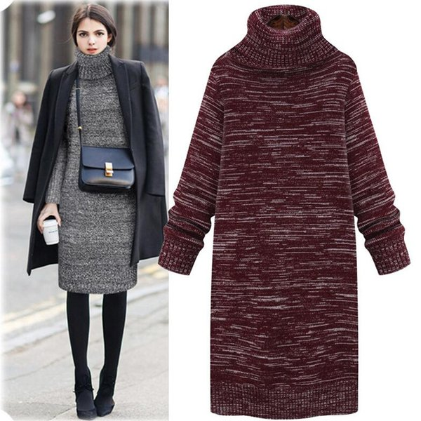 2018 Vestidos Sweater Dress Women Knitted Winter Long Sleeve Robe Femme Turtleneck Black Dress Warm Autumn Womens Clothing
