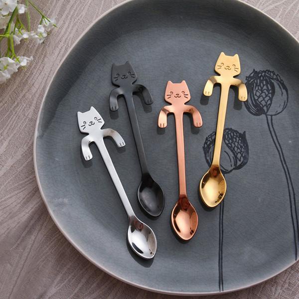 CoffeeTea Löffel Mini Katze Langen Griff Kreative Löffel Trinken Werkzeuge lebensmittelqualität Edelstahl Küche Besteck Geschirr