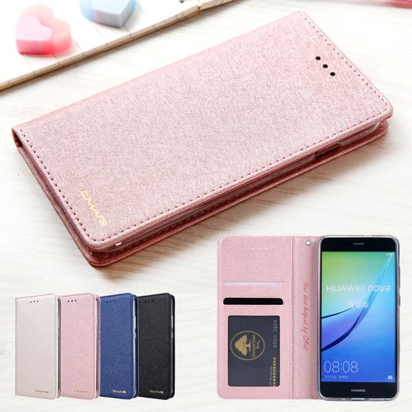 Étui portefeuille en cuir de soie magnétique pour Huawei P10 Lite P10 Sacs de luxe titulaire de la carte Flip Phone Coque pour Huawei P10 Lite