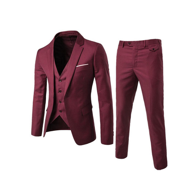 One Button Suit Men's Slim Fit Wedding Garment Groomsmen Clothes Brothers College Students Handsome Small Suits Banquet Meeting