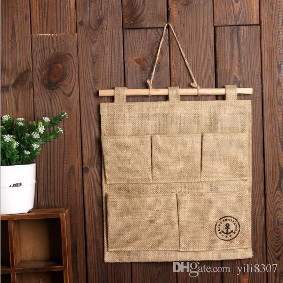 Creative Anchor Burlap Cotton Linen Door Hanging Bag 5 Pockets Wall Mounted Storage Bag Sundries Organizer Pouch Eco-friendly Waterproof Bag