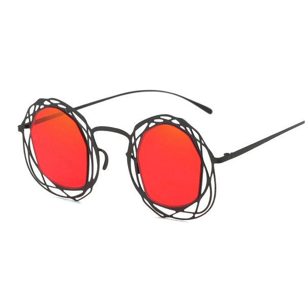 MINCL / 2018 нерегулярные многоугольник высокое качество металла солнцезащитные очки Женщины бренд дизайнер новая мода круглый красный солнцезащитные очки оттенки NX