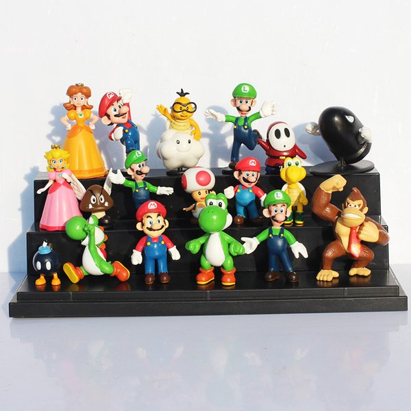 18pcs /Set Super Mario Bros Yoshi Dinosaur Peach Toad Goomba Pvc Action Figures Toy Free Shipping