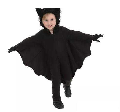 2017 Winter Halloween Costumes Bat clothes Black Bats Cut Fanny Dress Up Party Costume For Children with Gloves mascot