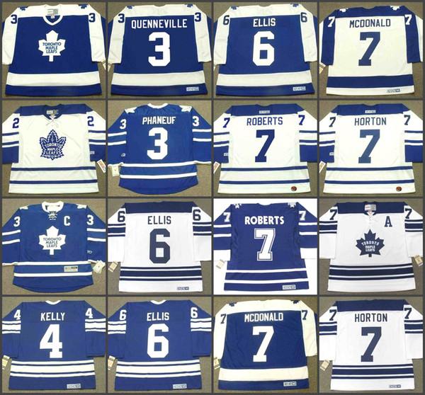 3 DION PHANEUF 3 JOEL QUENNEVILLE 4 ROUGE KELLY 6 RON ELLIS 7 GARY ROBERTS 7 LANNY MCDONALD toronto Maple Leafs CCM Vintage Maillot de hockey