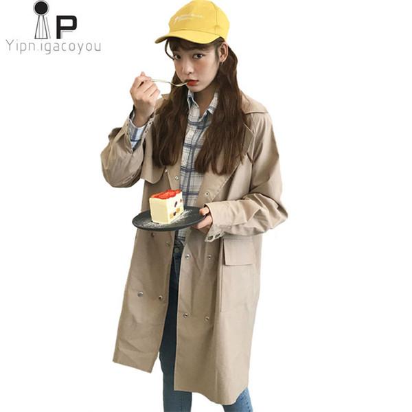 Women's Spring-Autumn Fashion Coats 2018 Loose wild Double-breasted casual feminine coat New Korean student womens windbreaker