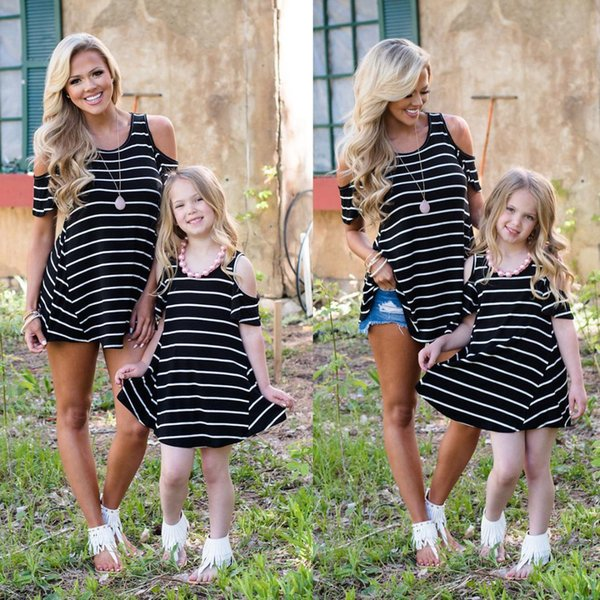 2018 Brand New Family Matching Sets Mother Daughter Summer Dress Off Shoulder Striped Mini Dress Long Tops Outfit 2-9Y Girls
