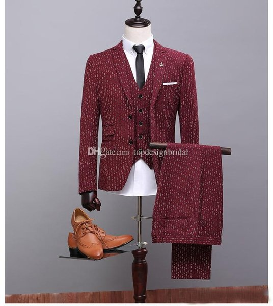 Wholesale - Wine Red Groom Tuxedos Notch Lapel Best Man Mens Wedding Suits Design (Jacket+Pant+Vest) Designers Tailored Prom Suits