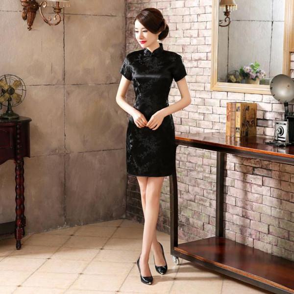 High Fashion Black Chinese Lady Satin Cheongsam Summer New Short Qipao Vintage Sexy Evening Dress Flower S M L XL XXL WC023
