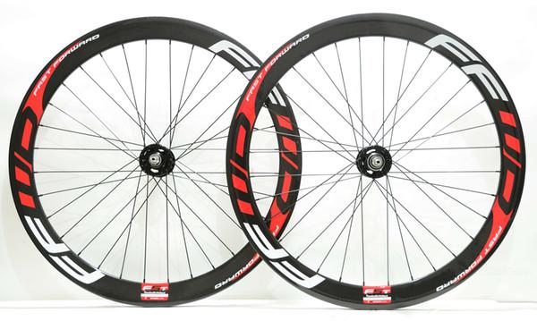 700C 50mm depth Track bike carbon wheels fixed gear street 25mm width bicycle clincher/Tubular carbon wheelset U-shape rim with FFWD decals